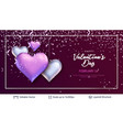 glossy 3d hearts and greeting text vector image