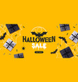 halloween sale poster with gift boxes and bat vector image