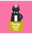 Happy Birthday card background with a cat vector image vector image