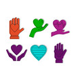 heart in hand icon set color outline style vector image vector image