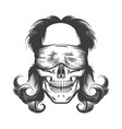 human skull with blindfold tattoo vector image vector image