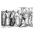Jesus heals a leper vintage vector image