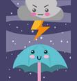 kawaii thunder cloud and umbrella cartoon vector image vector image