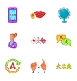 Languages icons set cartoon style vector image vector image