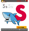 letter s with cartoon shark fish vector image vector image