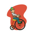 man ride old bike cartoon vector image