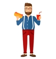 Man with fast food vector image vector image
