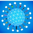 many different people on the globe vector image vector image