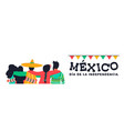 mexico independence day banner of friends at party vector image vector image