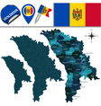 Moldova map with named divisions vector image vector image