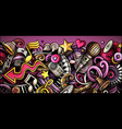 music hand drawn doodle banner cartoon detailed vector image vector image