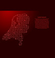 netherlands map from red pattern from composed vector image vector image