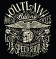 outlaw motors vintage t-shirt graphic vector image