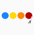 painter painting four empty circles on wall vector image vector image