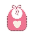 pink bib with heart silhouette vector image vector image