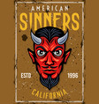 poster with devil head and text american sinners vector image vector image