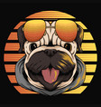 pug dog retro sunset vector image vector image