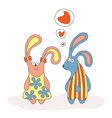Rabbit in love cartoon vector image vector image