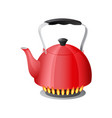 red kettle with boiling water on kitchen stove vector image vector image