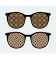 Retro sunglasses with ornament reflection in it vector image vector image
