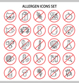 set allergen free products icons insects and vector image