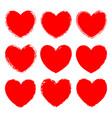 set monochrome red grunge art hearts vector image vector image