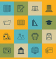set of 16 school icons includes distance learning vector image vector image