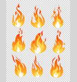 set of fire flames icons vector image