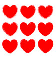 set of monochrome red grunge art hearts vector image vector image