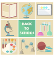 Set of nine school related flat icons vector image