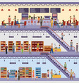 shopping center supermarket high-rise store cafe vector image vector image