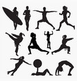 silhouettes woman activity vector image vector image