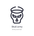 skull army outline icon isolated line from army vector image vector image