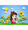 sun flower with girl vector image
