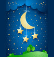 surreal landscape with hanging stars vector image vector image