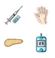 Syringe with insulin pancreas glucometer hand