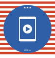 tablet with play button ico vector image