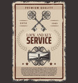 vintage lock and keys service poster vector image