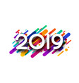 white new year 2019 card with colorful paint vector image vector image