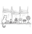 Windowsill with home love objects and cute catHand vector image