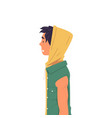 young man in t-shirt with hood and short sleeve vector image vector image
