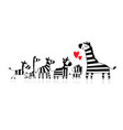 zebra family mother and children sketch for your vector image