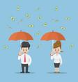 businessman holding umbrella under the rain money vector image