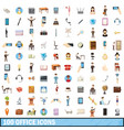 100 office icons set cartoon style vector image vector image