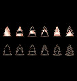 a set rose gold geometric christmas trees vector image