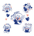 are you a fan girl concept doodle sticker set best vector image vector image