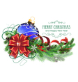 Blue Christmas ball with red bow and fir branches vector image vector image