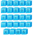 blue number and math symbol vector image vector image