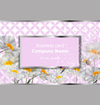 business card with white chamomile flowers vector image