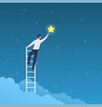 businessman success man on ladder reaches stars vector image